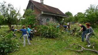 Das Lusthäuschen beim Henzihof soll wieder zu einem freudigen Anblick werden. Gut 50 Helfer waren bei einer ersten Entrümpelung am Samstag dabei.