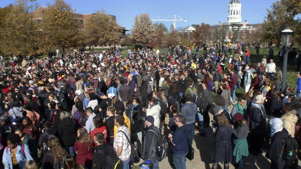 Studentenprotest gegen Rassendiskriminierung am Montag auf dem Campus der Universität Columbia.