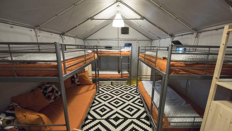 Innenansicht: 60 Ikea-Hütten will der Kanton im ehemaligen A3-Werkhof in Frick für Flüchtlinge aufstellen. (Archiv)