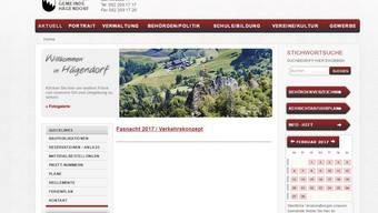 Die Homepage der Gemeinde Hägendorf im Februar 2017. Sie soll neu gestaltet werden.