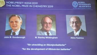 John B. Goodenough, M. Stanley Whittingham, and Akira Yoshino teilen sich den Nobelpreis für Chemie 2019.