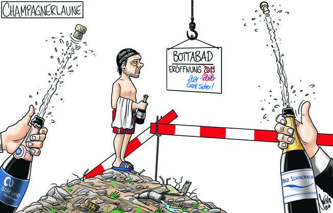 9. November 2018: Wäre ja auch zu schön gewesen: Die Eröffnung des Thermalbades in Baden verzögert sich abermals. Unser Karikaturist ahnt, wer darob die Korken knallen lässt.