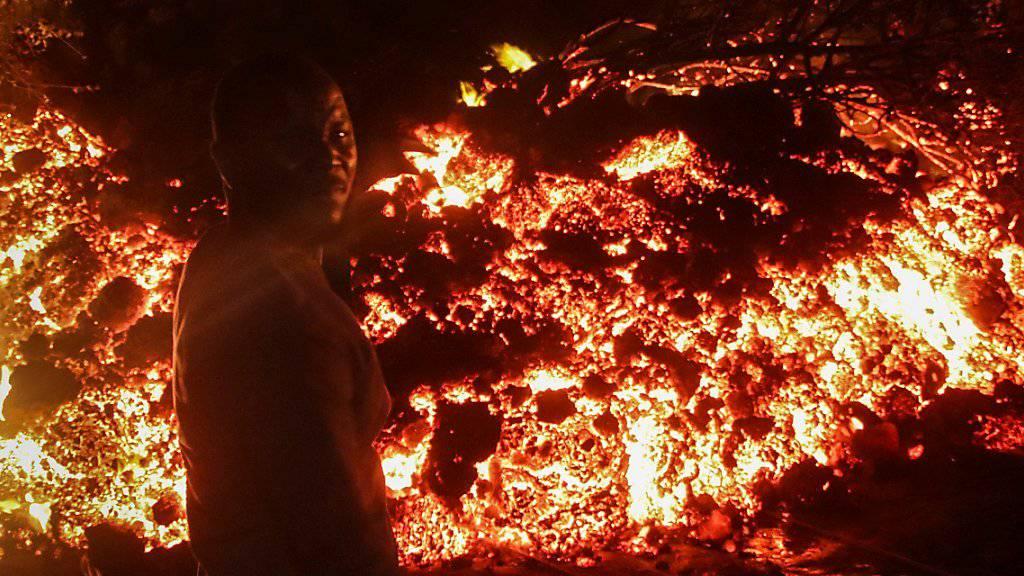 Lavastrom stoppt vor kongolesischer Grossstadt Goma