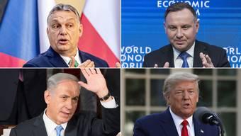 Viktor Orban, Andrej Duda, Benjamin Netanjahu und Donald Trump. (von oben links)