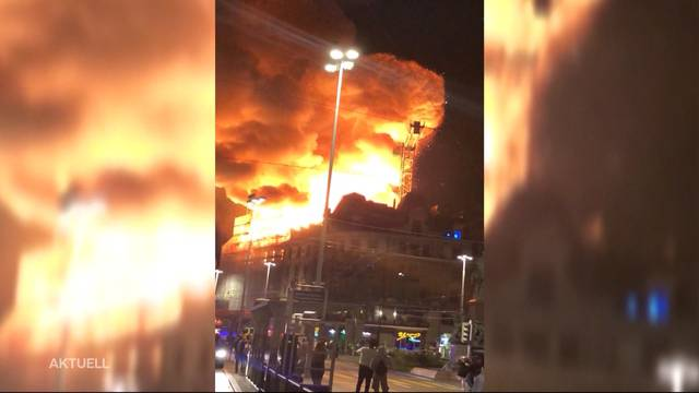 Major fire near Zurich HB: building is in danger of collapse