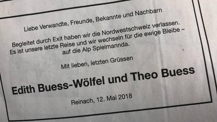 Todesanzeige in der Basler Zeitung vom 15.Mai 2018