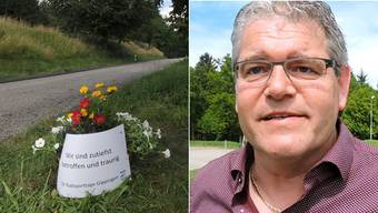Die Unfallstelle vom Velodrama Gippingen und OK-Präsident René Huber.