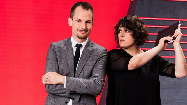 «Arena»-Moderator Jonas Projer und Satirikerin Patti Basler.