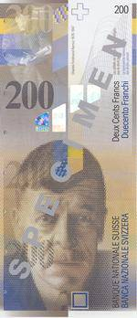 1995 wurde auf die 500-Franken-Banknote verzichtet, jedoch neu eine Banknote im Wert von 200 Franken eingeführt.