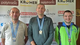 Im A-Match rettete Dieter Grossen (Mitte) seine einzige Goldmedaille vor Patrik Hunn (links) und Thomas Vock.