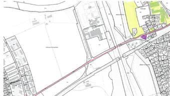 Rot markiert die Luterbach- und Zuchwilstrasse. Die Einsprachen der Eigentümer der gelb markierten Grundstücke wurden abgewiesen. Beim violett markierten Grundstück wurde eine Einigung erzielt.
