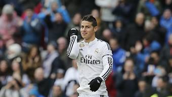 Real Madrids James Rodriguez jubelt über seinen 1:1-Ausgleich.