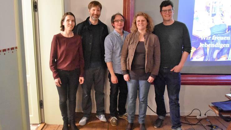 (v. l.) Beatrice van Diepen (neu), Christian Bischoff (neu), Tobias Suter, Gertrud Burger und der neue Präsident Reto Wäger. Es fehlt Christoph Schmid (auf Weltreise).