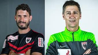 Innenverteidiger Juan Pablo Garat (l.) und Assistenztrainer Andy Ladner verlängern ihre Verträge beim FC Aarau