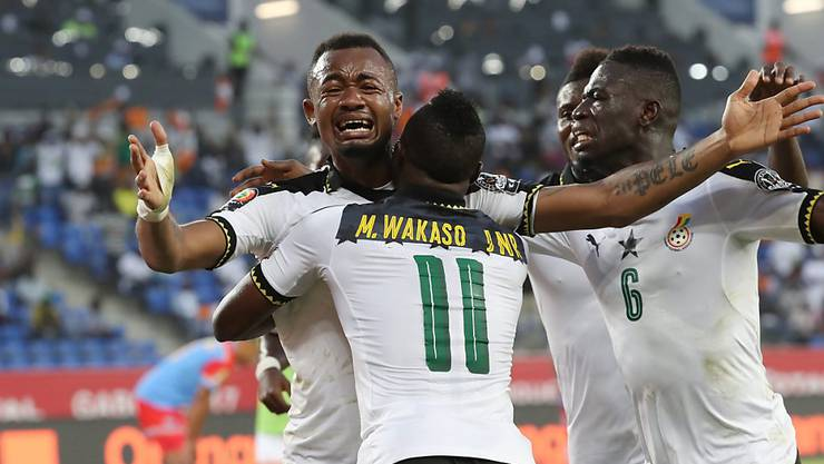 Kann sein Glück nach dem Tor zum 1:0 gegen die Demokratische Republik Kongo kaum fassen: Ghanas Jordan Ayew (mit der einbandagierten Hand)