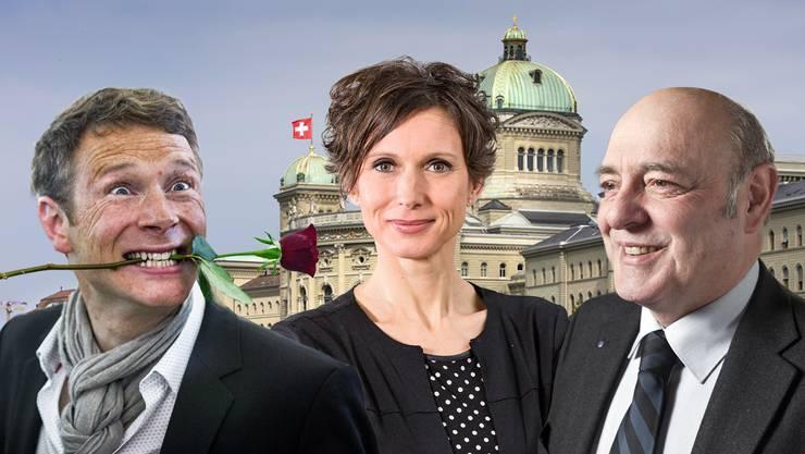 Von links nach rechts: Jonas Fricker (Grüne) schafft 2015 den Sprung in den Nationalrat, Pascale Bruderer (SP) wird im ersten Wahlgang in den Ständerat gewählt und Ulrich Giezendanner (SVP) erhält die meisten Stimmen der Nationalratskandidaten.