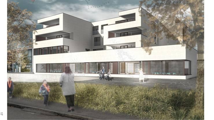 Standort des neuen Schulpsychologischen Diensts rechts der Limmat wird das neue Kindergartengebäude Föhrewäldli in der Weininger Fahrweid. Es soll per Januar 2019 bezugsbereit sein.
