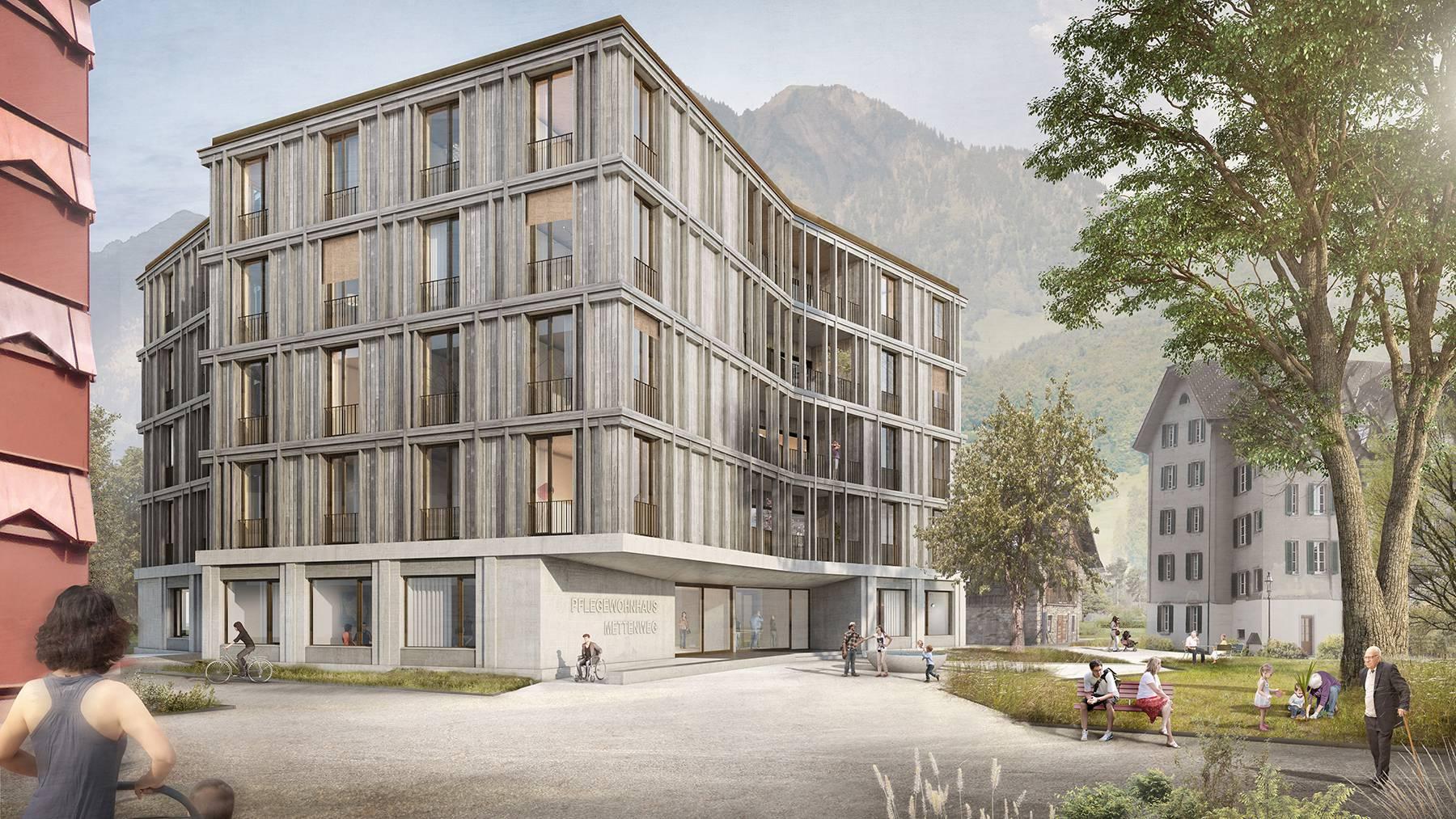 Visualisierung des Neubaus Mettenweg