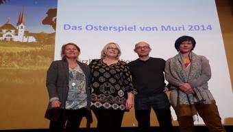 Sie stehen hinter dem Murianer Osterspiel 2014: Claudia Capecchi (Produktionsleitung und Regieassistenz), Brigitte Müller (Leitung MuriTheater), Paul Steinmann (Drehbuch) und Barbara Schlumpf (Regie). andrea Knecht