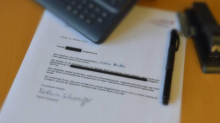 Der Brief von Sicherheitsdirektorin Kathrin Schweizer.