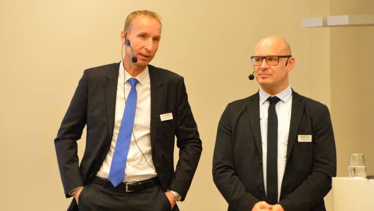 Urs Steiner (l.) und Bernhard Droz referierten zum Thema Cyberkriminalität.
