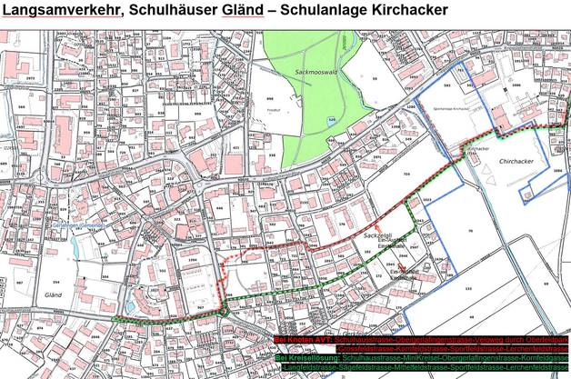 Rot: die derzeit geplante Veloroute / Grün: Alternativvorschlag mit Mini-Kreisel