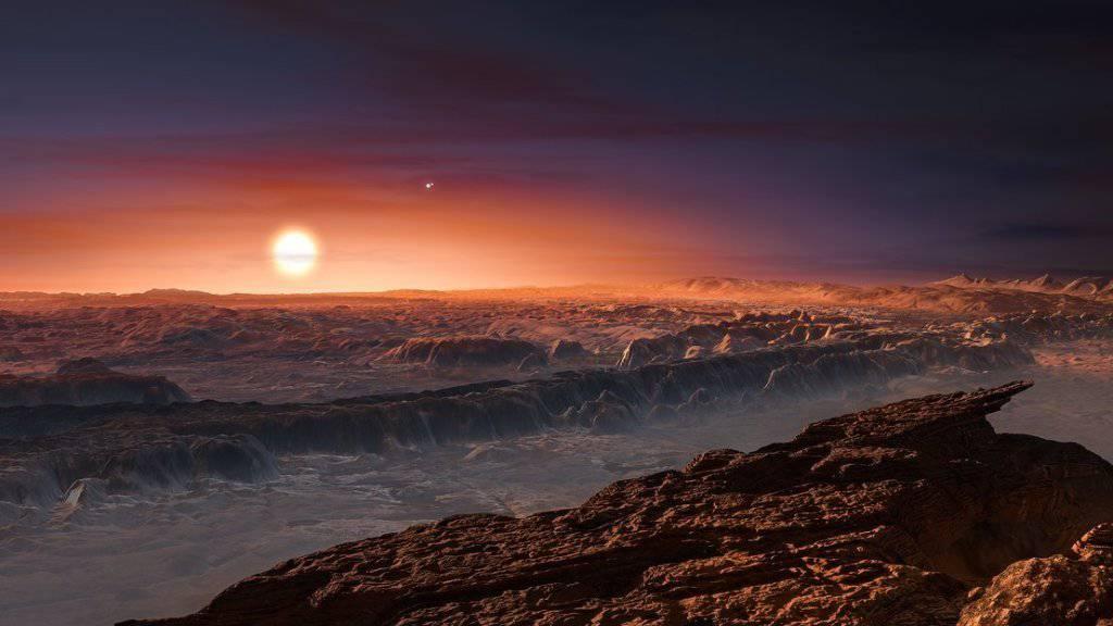So stellen sich Wissenschaftler den Blick von der Oberfläche des neu entdeckten Exoplaneten auf sein Zentralgestirn Proxima Centauri vor. (Künstlerische Darstellung)