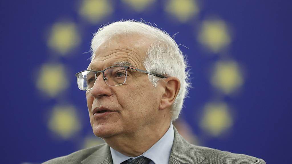 Josep Borrell, Hoher Vertreter der Europäischen Union für Außen- und Sicherheitspolitik, bespricht vor dem EU-Parlament die aktuelle Situation in Belarus. Foto: Jean-Francois Badias/AP/dpa