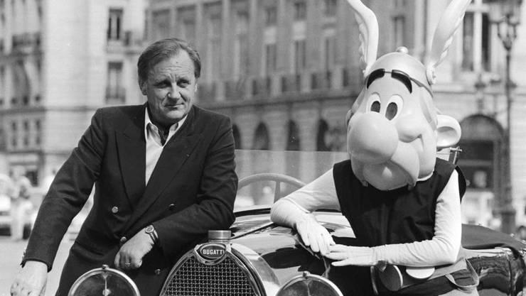 Asterix und sein geistiger Vater Albert Uderzo im Jahre 1985.
