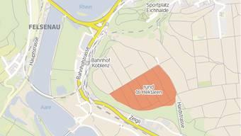 Im orange markierten Gebiet in Klingnau soll eine neue Kiesgrube in Betrieb gehen.