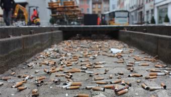 Bevor das Wasser in den Stadtbachrinnen wieder fliessen kann, müssen diese von Abfall befreit werden.