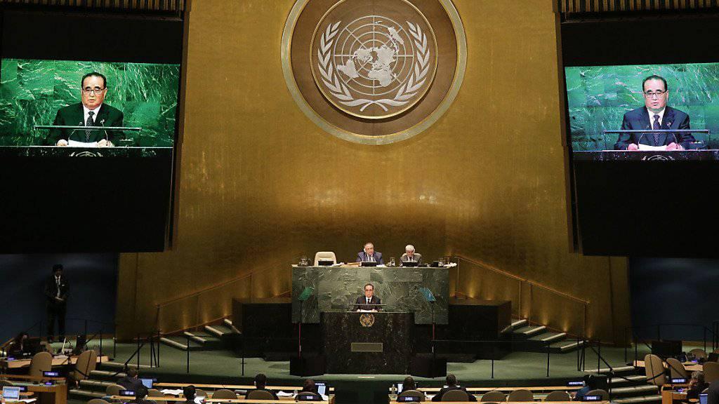Nordkoreas Aussenminister Ri vor der UNO-Vollversammlung: Nach der Eskalation vor zwei Monaten sei es nun Zeit für eine Annäherung zwischen den Nachbarländern, so der Aussenminister.