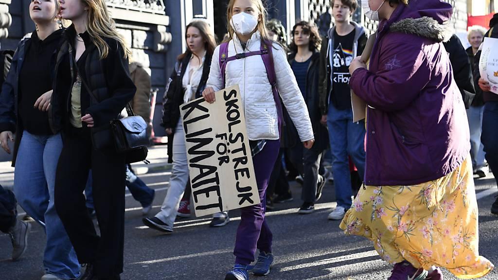 Internationale Klimaaktivisten protestieren mit Thunberg in Stockholm