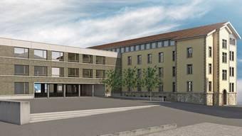 Das heutige Bezirksschulhaus Halde soll um eine Etage erhöht werden, zudem ist dort, wo heute die Einfachturnhalle steht, ein mehrstöckiger Anbau geplant.