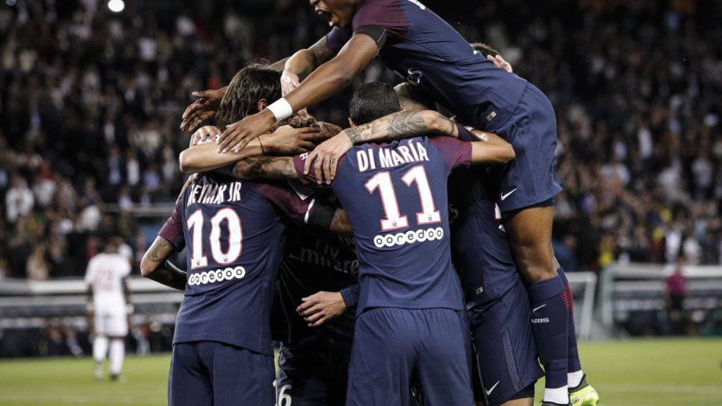 Der PSG jubelt mit Neymar (Nummer 10) - 6:2-Sieg gegen Toulouse