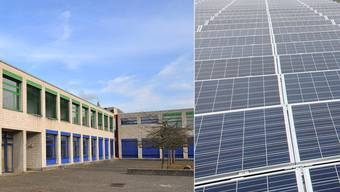 Auf dem Dach des Hauptsgebäudes des Schulhauses Schützenmatt wird eine Photovoltaikanlage installiert.