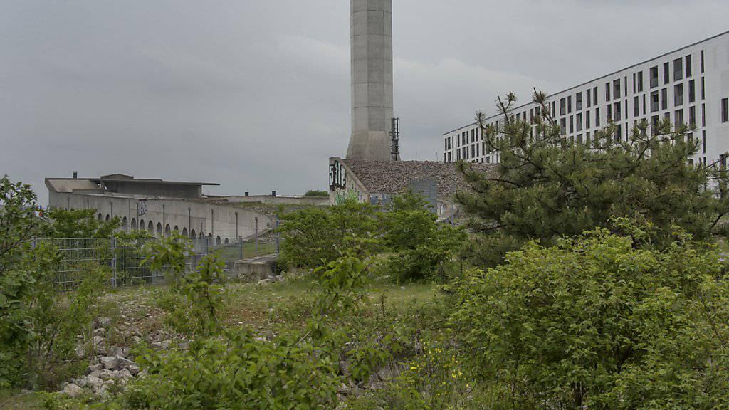 Seit 1995 steht dieser 53 Meter hohe Abluftkamin auf dem Erlenmatt-Areal in Basel, ohne je seinen Zweck erfüllt zu haben. Nun wird das 3,5 Millionen Franken teure Bauwerk abgebrochen. Archivbild: KEYSTONE/Georgios Kefalas)