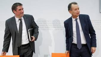 Die beiden Parteipräsidenten Christian Levrat (SP, l.) und Philipp Müller (FDP) rücken in der EU-Frage näher zusammen. Peter Klaunzer/Keystone
