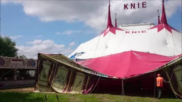 Zirkus Knie in Klingnau - Impressionen vom Aufbau