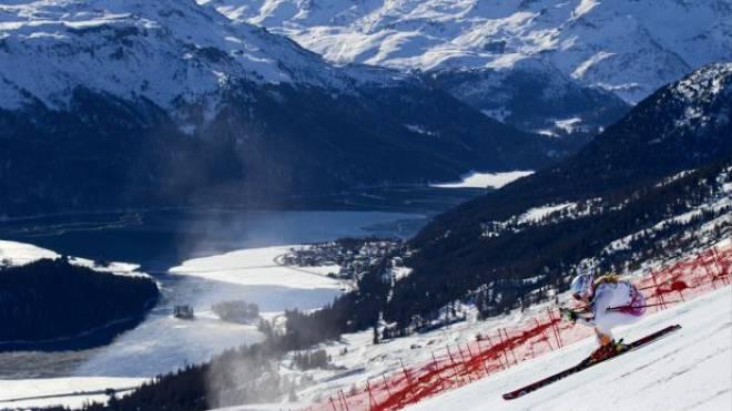 Tina Weirather fährt bei perfekten Bedingungen in St. Moritz überragend und gewinnt das zweite Weltcup-Rennen ihrer Karriere. Foto: Peter Klaunzer/Keystone