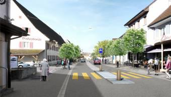 So könnte die Hauptstrasse nach der Umgestaltung aussehen: Mittelinsel und Mehrzweckstreifen sollen die Sicherheit der Fussgänger erhöhen. Visualisierung zvg