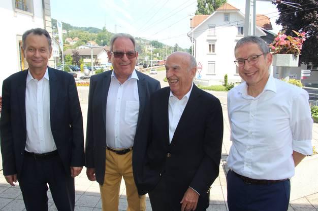 Philipp Müller, Peter Lenzin, Hans-Rudolf Merz, Urs Hofmann (v.l.)