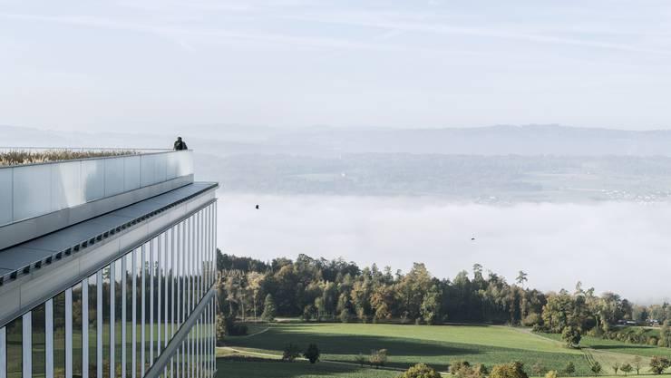Von der Terrasse der Rehaklinik Bellikon bietet sich eine einmalige Sicht auf das Reusstal und die Alpen.