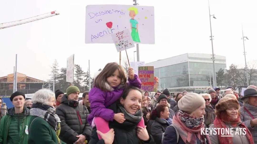 Protestaktion von Gegnern des 5G-Mobilfunknetzes
