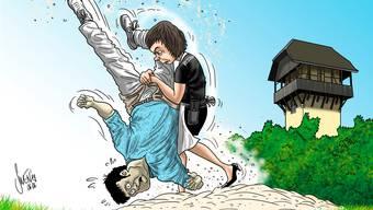 So illustriert unser Karikaturist Silvan Wegmann den Zwist zwischen den Schwingern und den «Baldegg»-Wirten.