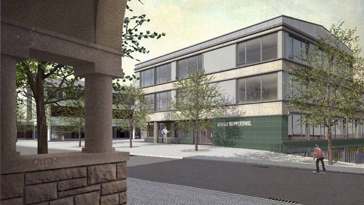 Der Erweiterungsbau (Visualisierung) vom Seetalschulhaus her. zVg
