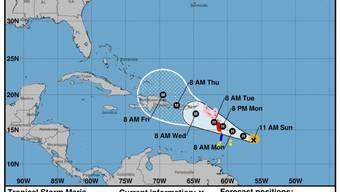 """Nicht einmal zwei Wochen nach dem verheerenden Wirbelsturm """"Irma"""" bedroht der Hurrikan """"Maria"""" die Karibikinseln. Diesmal dürfte vor allem die Insel Guadeloupe betroffen sein. Für Montag wird mit Windgeschwindigkeiten von bis zu 200 Stundenkilometern gerechnet."""