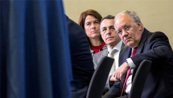 Das FDP-Führungstrio (von links): Präsidentin Petra Gössi, Aussenminister Ignazio Cassis und Wirtschaftsminister Johann Schneider-Ammann. ALEXANDRA WEY/Keystone