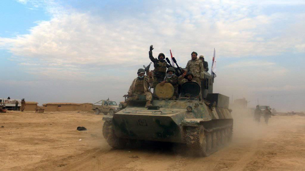 Schiitische Milizen rücken von Westen her nach Mossul vor. (Archiv)