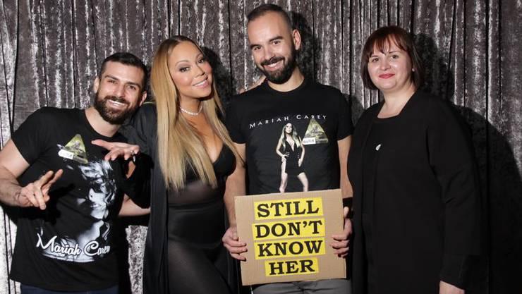 Nach der Show in Zürich: Mariah Carey und Adi Kolecic mit dem Spruch, der in den USA hohe Wellen wirft.
